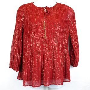 Catherines Blouse Red & Gold Glitter Crepe Tassel
